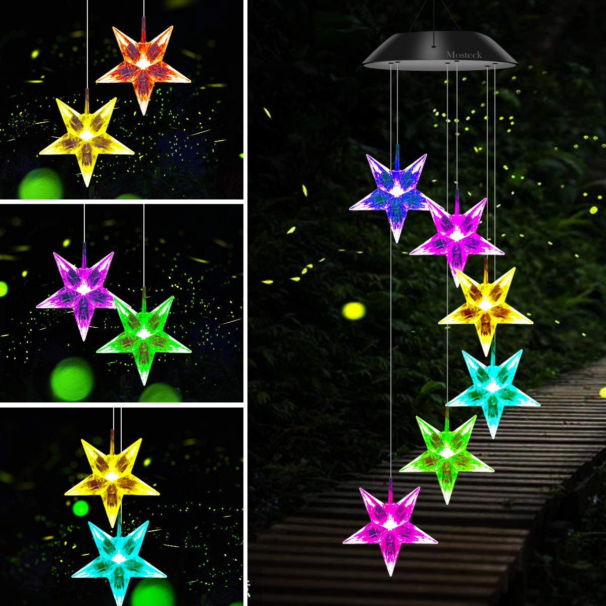 Mosteck Wind Chime Solar Wind Chimes Outdoor Color Changing Hummingbird Chimes Mobile Led Star Wind Chimes